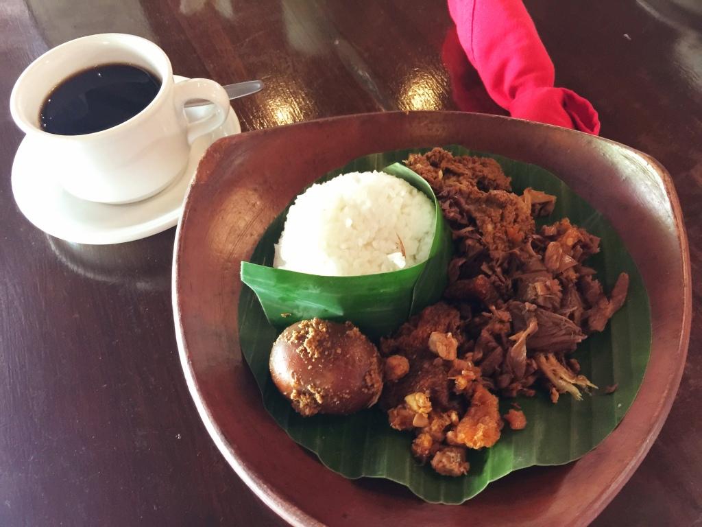 Nasi Gudeg - shredded chicken, slow-cooked young jackfruit in coconut milk, hardboiled spiced egg and spicy 'krecek'.